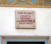 August von Kotzebue Gedenktafel